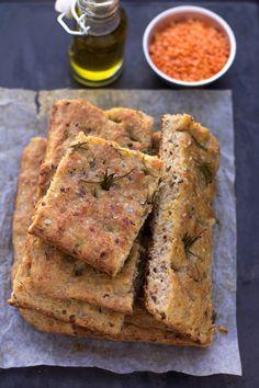 Focaccia di lenticchie e semi di lino - ilgamberorusso