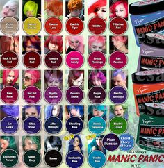 hair dye chart manic panic - Google Search