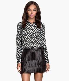 Straight-cut Shirt $9.99, black and white