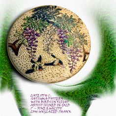 Image Copyright RC Larner ~ 19th C. Satsuma Pottery Birds in Wisteria  Button ~ R C Larner Buttons at eBay & Etsy        http://stores.ebay.com/RC-LARNER-BUTTONS