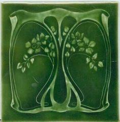 ❤ - Art Tile, Art Nouveau Design, Green Floral Design on Green Tile Art, Mosaic Art, Azulejos Art Nouveau, Design Art Nouveau, Jugendstil Design, Art Nouveau Tiles, Vintage Tile, Vintage Art, Decorative Tile