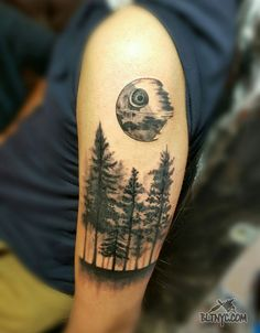 Black and Gray Forest with Death Star Tattoo by Nasa at Body Language Tattoo Shop NYC #tattoo #deathstar #tattooartist #armtattoo