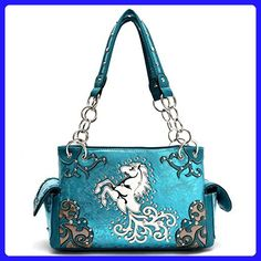 Cowgirl Trendy Western Horse Carry Concealed Handbag Turquoise - Top handle bags (*Amazon Partner-Link)