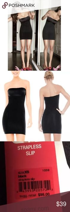 $98 SPANX SLIMMER & SHINE STRAPLESS SLIP SHAPER The Spanx Difference See yourself in a different light with this sleek slip! Combining luxurious yarns and satin accents, you can shine on in this style, perfect for starlets on the red carpet and real women alike!  Slimming Level SCULPT Tech It Out Super-powerful slimming though the tummy, hips, thighs and rear Seamless yarns have targeted compression zones that slim in just the right places Sleek, satin bust contours to the chest Seat…