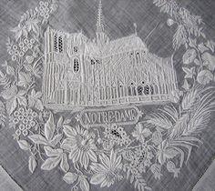 """Maria Niforos - Fine Antique Lace, Linens & Textiles : Antique Lace # LA-202 Exquisite """"Notre Dame"""" Appenzel Hankerchief"""