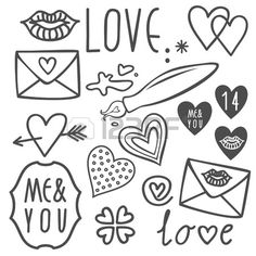 Illustration of simple hand drawn gray love doodles isolated on white background valentines day set vector art, clipart and stock vectors. Tumblr Drawings Easy, Pencil Drawings Tumblr, Love Drawings, Doodle Drawings, Doodle Art, Realistic Drawings, Beautiful Drawings, Cartoon Drawings, Drawing Videos For Kids