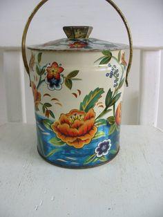 Tin Box Basket Flowers Biscuit Vintage