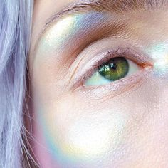 mermaid skin (pores and all..) || jumping on this holographic trend using @limecrimemakeup #Superfoils in 'Malibu,' 'Convertible' and 'Barbarella,' @makeupgeekcosmetics 'Caitlin Rose' and 'Fortune Teller' with @sugarpill 'Lumi' ✌️