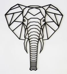 Geometric Elephant - Kikki and FrankiOrder now for delivery in January 2019 Our laser cut,coated wooden geometric animals are by far one of our favourites. Geometric Elephant Tattoo, Elephant Art, Elephant Tattoos, Geometric Tattoos, Elephant Outline, Elephant Drawings, Small Elephant, Geometric Sleeve, Elephant Design