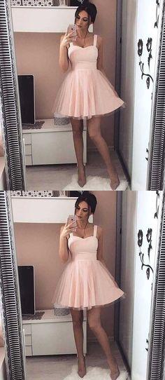 Sweetheart Homecoming Dress Straps,Light Pink Homecoming Dress,Tulle Prom Dresses,Fashion Dresses for Homecoming,Satin Homecoming Dress,Short Prom Dress,Graduation Dresses