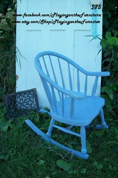 Baby Blue Childs Rocker Shabby Chic by PlayingontheFurnitur, $75.00