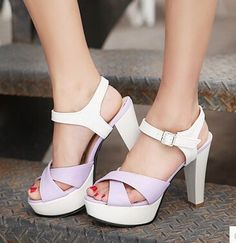 Women new Summer fashion thick 11.5cm ultra high heels sandals open toe color block platform buckle shoes plus size 40-43