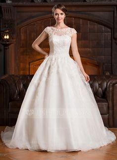 A-Line/Princess Scoop Neck Chapel Train Organza Wedding Dress With Appliques Lace (002056428) - JJsHouse