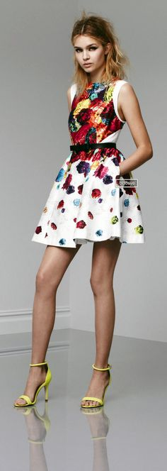 White dress with fun splashes of color. Sandals with great hell in lime green Prabal Gurung Look