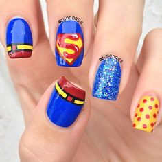 If you're looking to do seasonal nail art, spring is a great time to do so. The springtime is all about color, which means bright colors and pastels are becoming popular again for nail art. These types of colors allow you to create gorgeous nail art. Superman Nails, Superhero Nails, Superhero Cosplay, Beautiful Nail Designs, Cute Nail Designs, Pedicure Designs, Love Nails, Pretty Nails, Fingernail Designs
