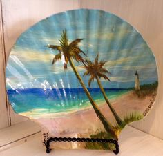 Coastal Art by Gabriela Valencia Florida Art, this is and acrylic Painting on a seashell Hand painted seashell Art available at the gallery