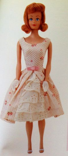 "vintage midge Barbie doll clone from Japan 1962 ""garden party""  I still have this dress and a different midge doll with wigs."
