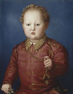 Garcia de'Medici  (1547-1562) third  son of  Cosimo I de 'Medici, and  Eleonora di Toledo, aged around 3  in 1550. In his right hand he holds an orange blossom and in his left hand a small jewel like an amulet.  Oil on panel by Bronzino. Garzia died of malaria along with his mother while traveling to Pisa, a few days after his brother Giovanni also died of the disease.