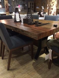 Salvaged wood table for kitchen @ abc home