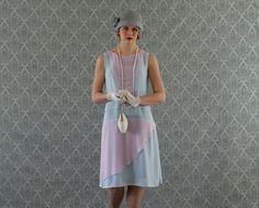 Pink and blue chiffon flapper dress with ruffled skirt, Great Gatsby dress, Downton Abbey dress, pastel blue, 1920s flapper dress, on Etsy, $140.00