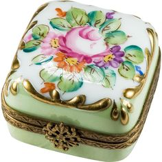 Hand Painted Flowers Trinket Box ~ A sweet little treat with a snowflake closure...how pretty and what a way to receive a ring!  The box is a perfect