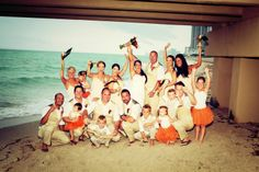 Wedding Party Under the Newport Pier  #wedding #destination #miami #sunnyisles #florida #beach #beaches #beachside #ceremony #hotel #resort #travel #ocean #beautiful #tropical #venue #bride #groom #ceremony #pier #party #family #friends