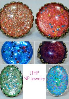 Nail polish jewelry love it! must try! www.eCrafty.com for glass tiles, bezels, bails, jewelry supplies