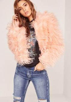 Pink Mongolian Long Faux Fur Short Coat