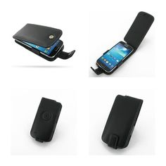 PDair Leather Case for Samsung Galaxy S4 Mini GT-i9190 - Flip Type (Black)