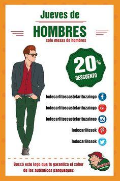 Jueves de descuento en mesas de Hombres!!! Los esperamos a todos en Lo de Carlitos Castelar Ituzaingo, Santa Rosa y Sarmiento!!!