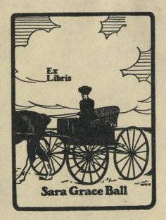 William Edgar Fisher (1872-1956), American / bookplate for Sara Grace Bell, depicts woman driving horse and buggy on prairie, c. 1900, woodcut,