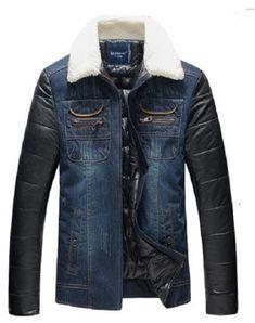 21e78fb037e Men s Winter Jacket Patchwork Warm Denim Jacket