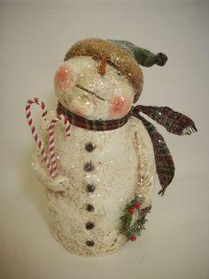 Paper Mache Folk Art Snowman with Wreath by papiermoonprimitives, $50.00