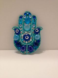 Cool Blue Free Hanging Hamsa on Etsy, $40.00
