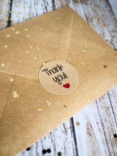 Round kraft thank you sticker with red heart by ctdscraftsupply