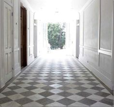 Hallway with White Grey Checkered Tile (vs. black and white? yes, I ...