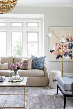 Large Scale Floral Art and Modern Lamp || Studio McGee