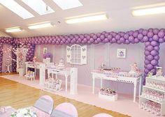 purple girls birthday party. love the balloons.