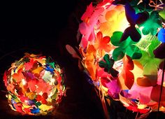 multicolor flowerball light made from recycled plastic by Heath Nash http://www.heathnash.com/others.php #art #recycling #upcycld