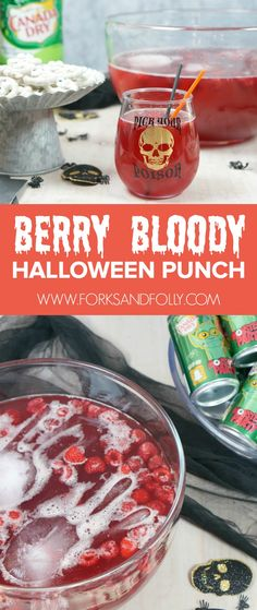 Berry Bloody Halloween Punch and Spooky Treats - Forks and Folly Halloween Tags, Halloween Desserts, Punch Halloween, Halloween Party Drinks, Bloody Halloween, Cheap Halloween, Vintage Halloween, Halloween Costumes, Halloween Decorations