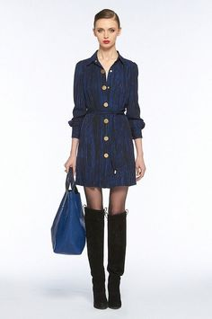e4e34a8c3a0 DVF Blue Black Nightwood Print Shirtdress Pockets