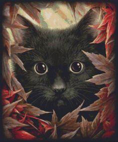 Cat Cross Stitch Kit By SheWhiteDragon Autumn Cat by GeckoRouge