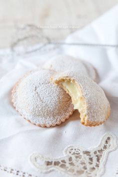 the shortcrust pastries filled with Sicilian lemon cream. the shortcrust pastries filled with Sicilian lemon cream. They are made by Maria Grammatico in her famous Pasticceria in Erica, Sicily. Food To Take Camping List Italian Cake, Italian Cookies, Italian Desserts, Just Desserts, Sicilian Recipes, Pastry Recipes, Cookie Recipes, Dessert Recipes, Sicilian Food