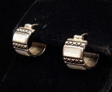 Sterling Silver & Mother of Pearl Mini Hoop Earrings