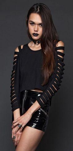 Lip Service Black Slashed Cropped Sweater Goth Punk Metal Psychobilly Large