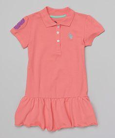 Look what I found on #zulily! Calypso Peach Drop-Waist Polo Dress - Toddler & Girls by U.S. Polo Assn. #zulilyfinds