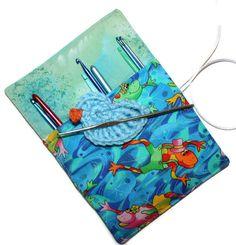 Playful Crochet Hook Cozy Roll Organizer Aqua by cozylittlecorner, $8.00