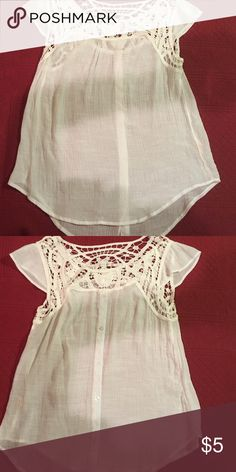 White lace gauze top Size says 3xl fits like a L. Never worn after washed. Tops Blouses
