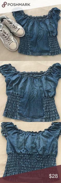LF DENIM Off The Shoulder OR Scoop Crop Top NWOT Dark denim crop top from LF that can be worn off the shoulder or as a scoop neck top. Two concertina elasticated panels at the side on the front and the lower part of the back of the top is fully elasticated. Size small. LF Tops
