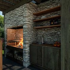 Best Ideas For Backyard Patio Grill Barbecue Outdoor Kitchen Design, Patio Design, Diy Patio, Backyard Patio, Parrilla Interior, Built In Braai, Patio Grill, Rustic Stone, Backyard Retreat